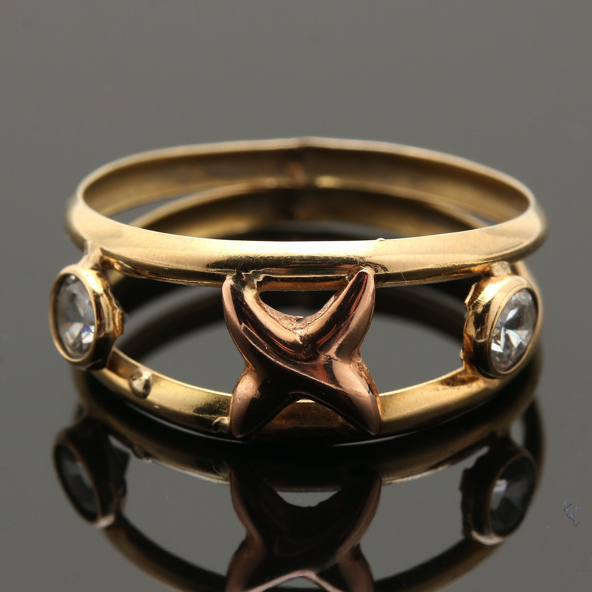 18K Rose and Yellow Gold Cubic Zirconia Ring