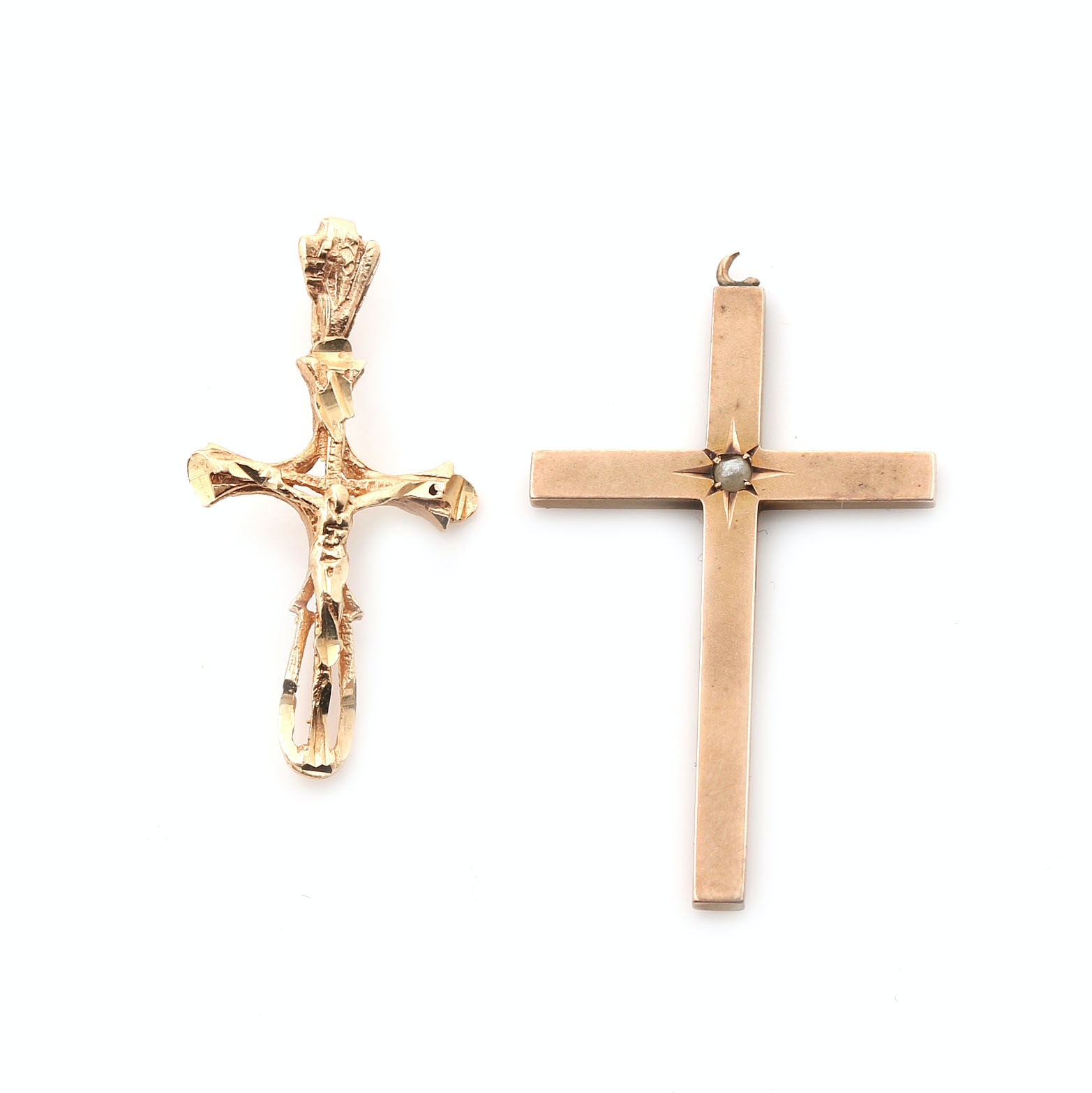 10K and 14K Yellow Gold Cross and Crucifix