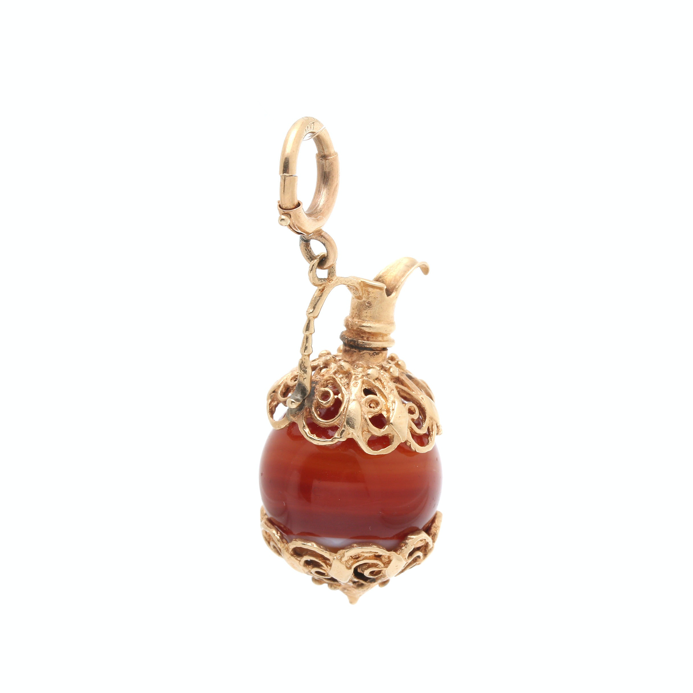 14K Yellow Gold Agate Urn Pendant/Charm