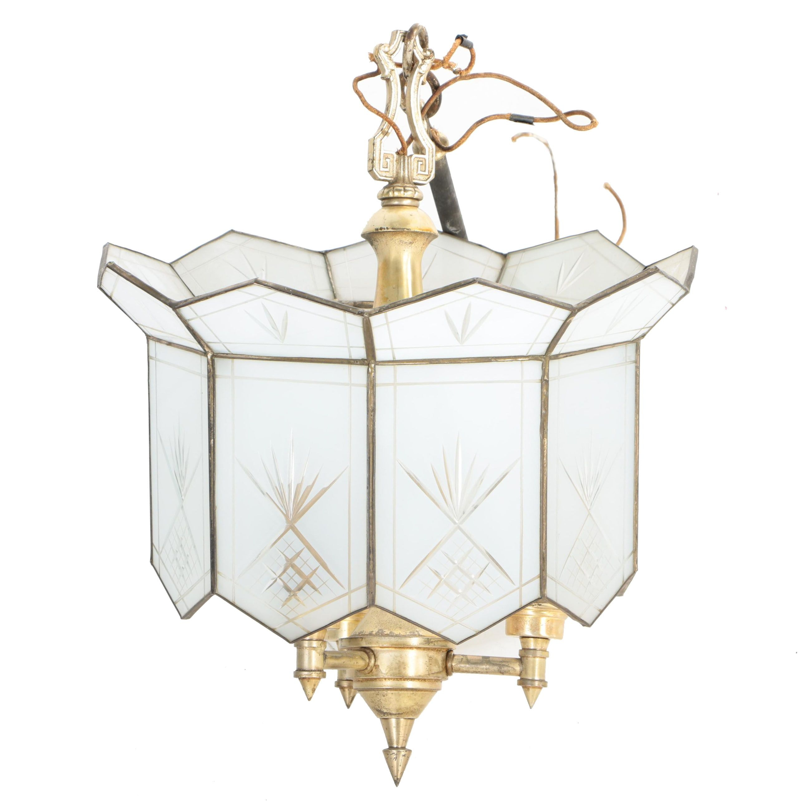 Brass Hanging Light Fixture with Frosted Glass Panels