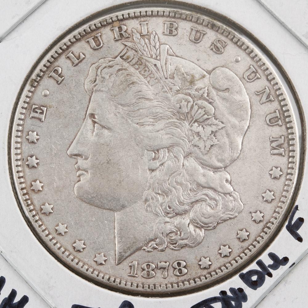 1878 Morgan Silver Dollar 7 Over 8 Feathers VAM 38