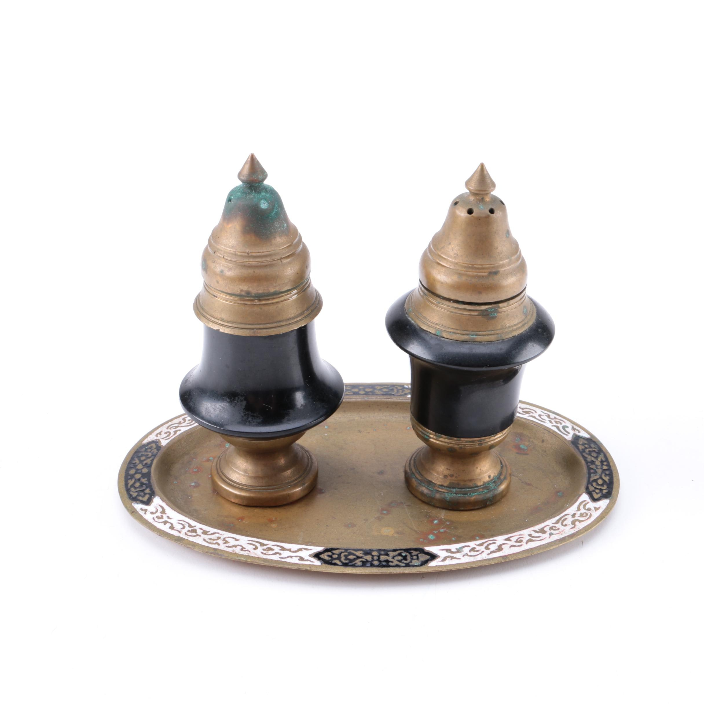 Brass Salt and Pepper Shakers with Tray