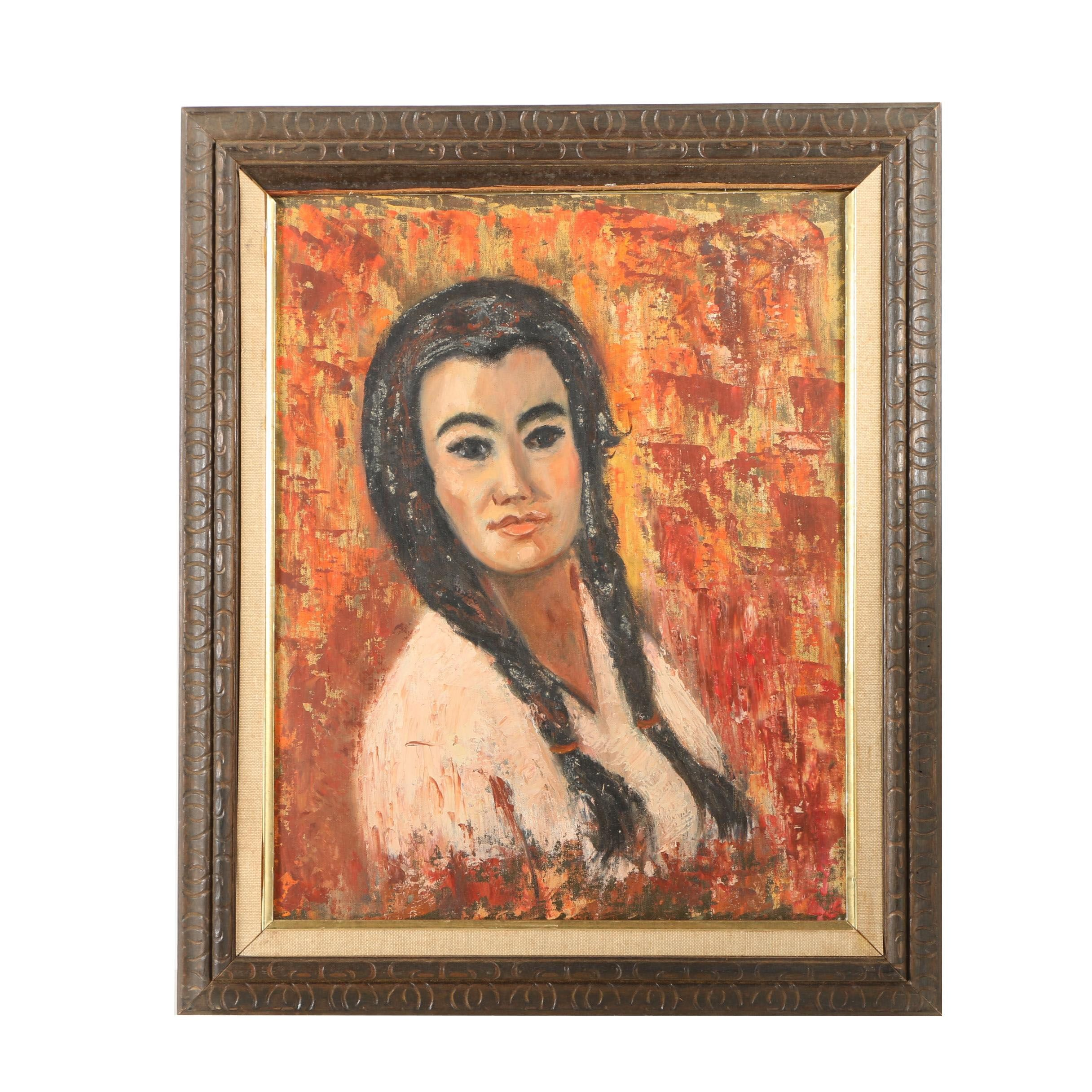 Oil Painting of a Woman with Braids