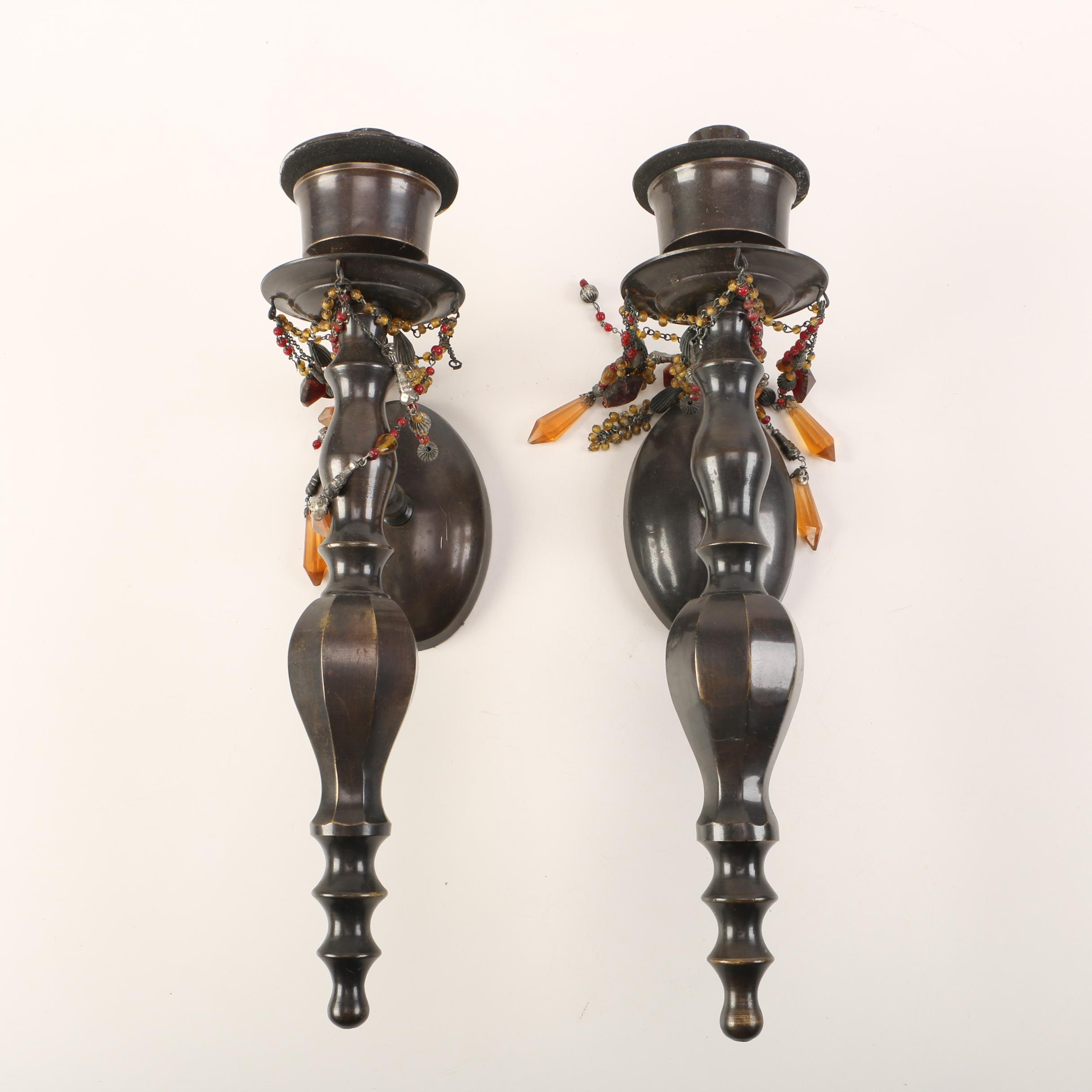 Bombay Ornate Brown Metal Wall Sconces