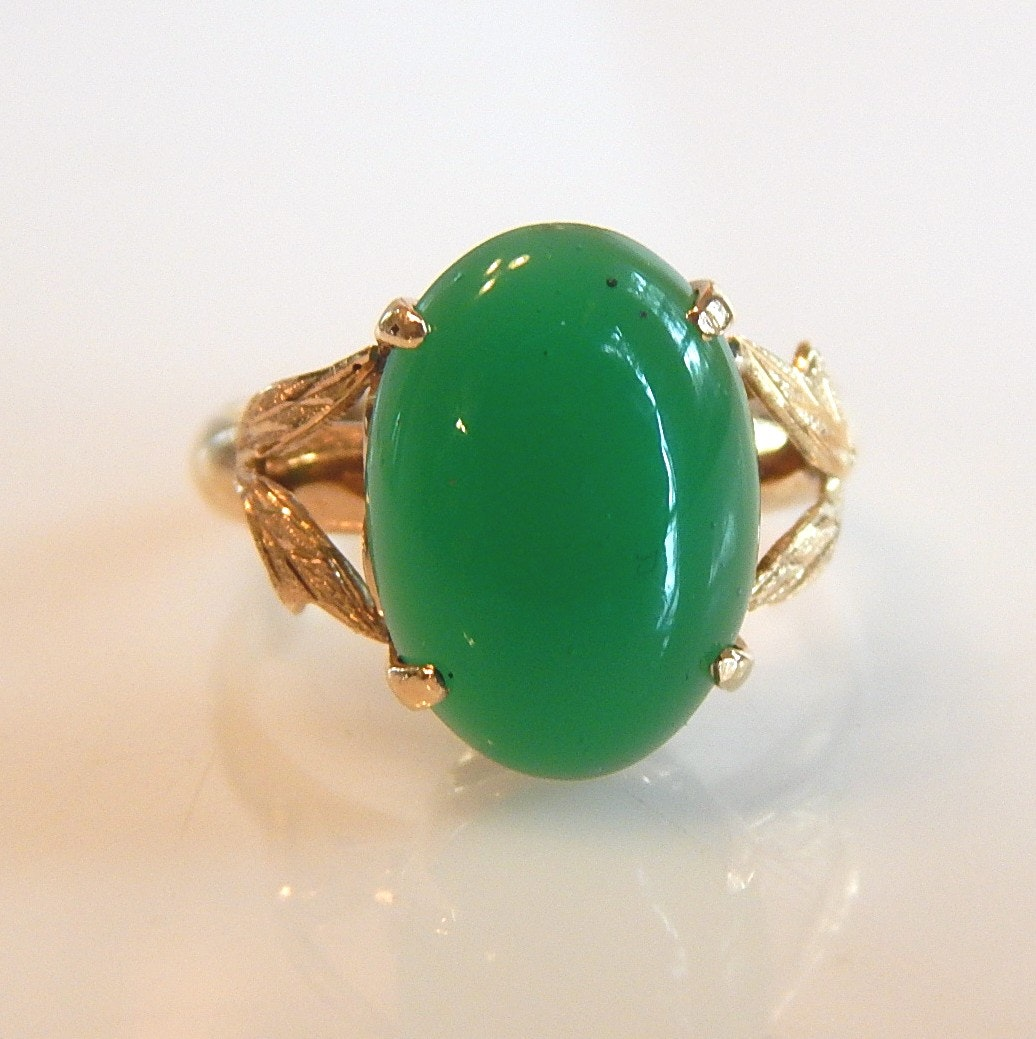 14K Yellow Gold Green Glass Cocktail Ring