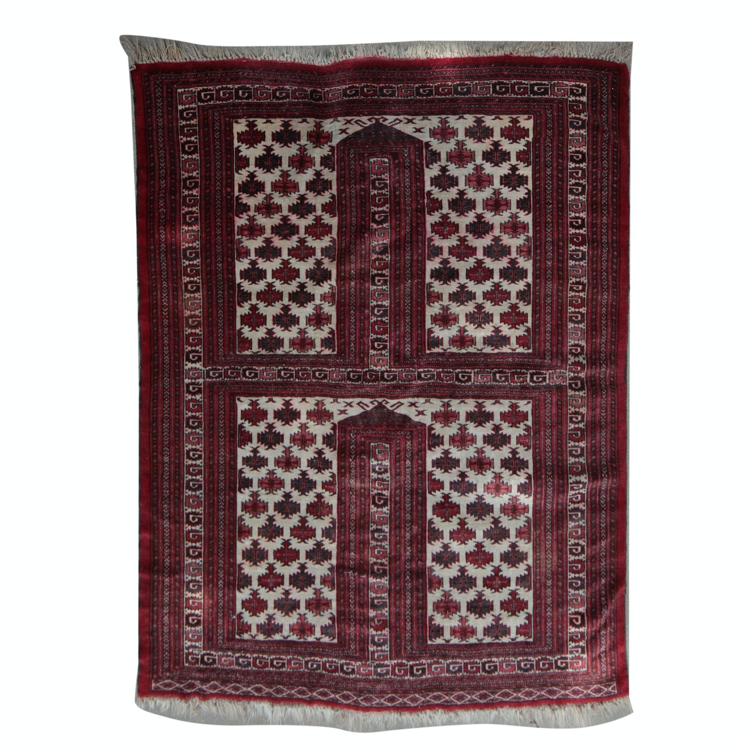 Handwoven Persian Beshir Prayer Rug