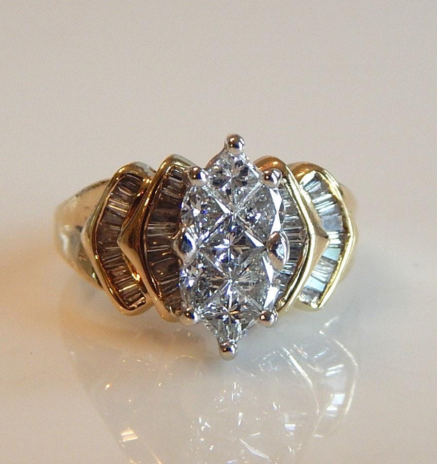 14K Yellow Gold Fancy Cocktail 1.44 CTW Diamond Ring