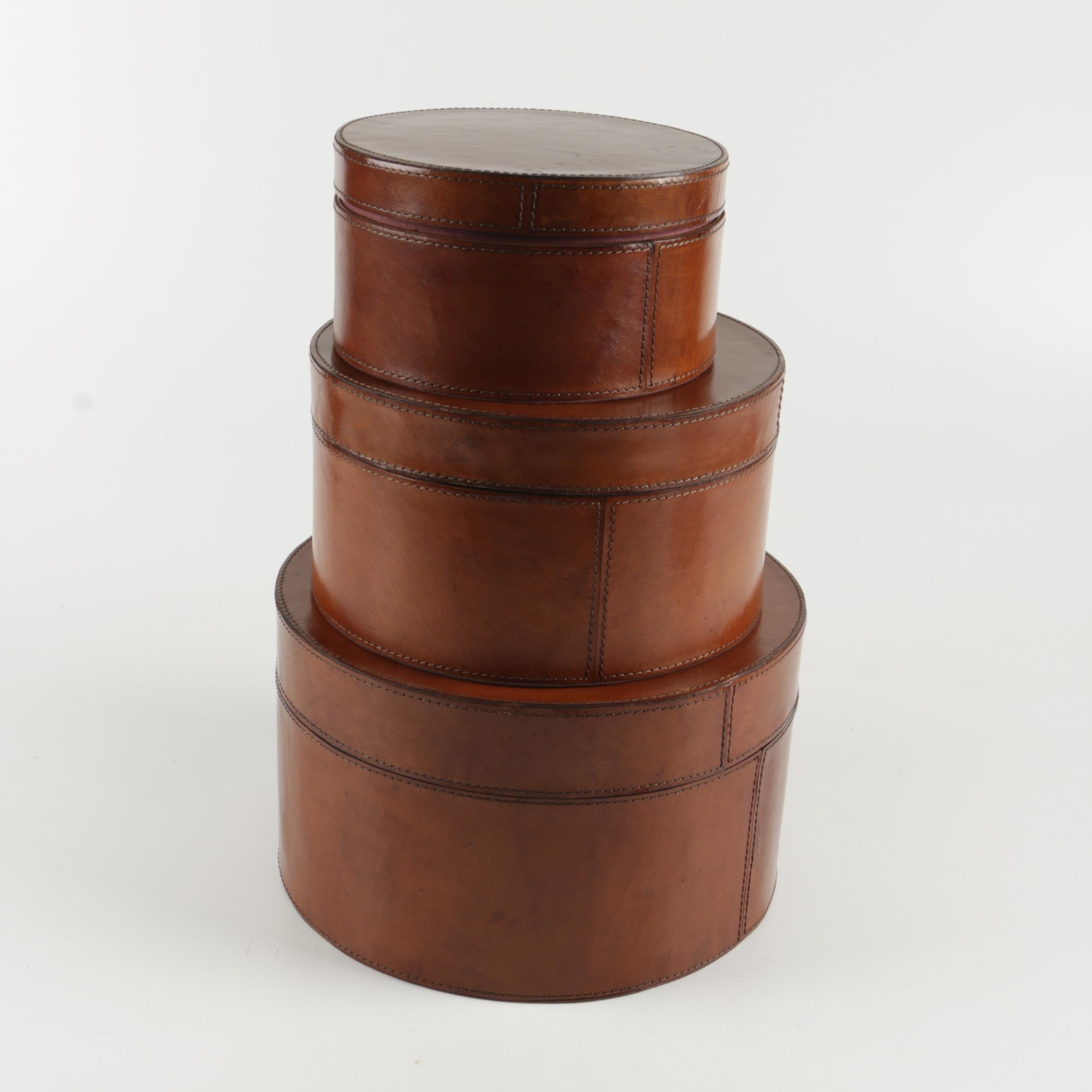 Leather-Covered Round Nested Storage Boxes