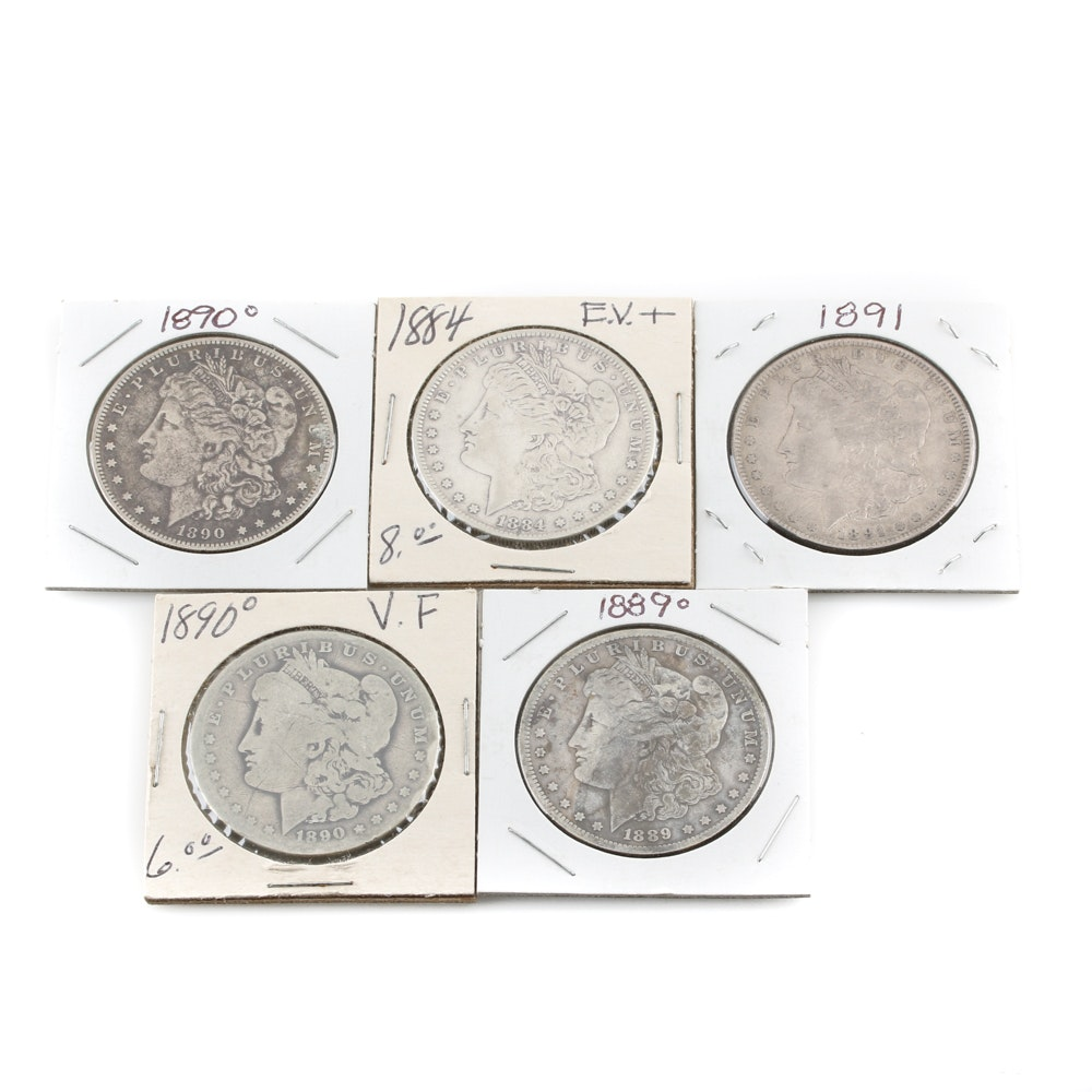 Selection of Five Morgan Silver Dollars