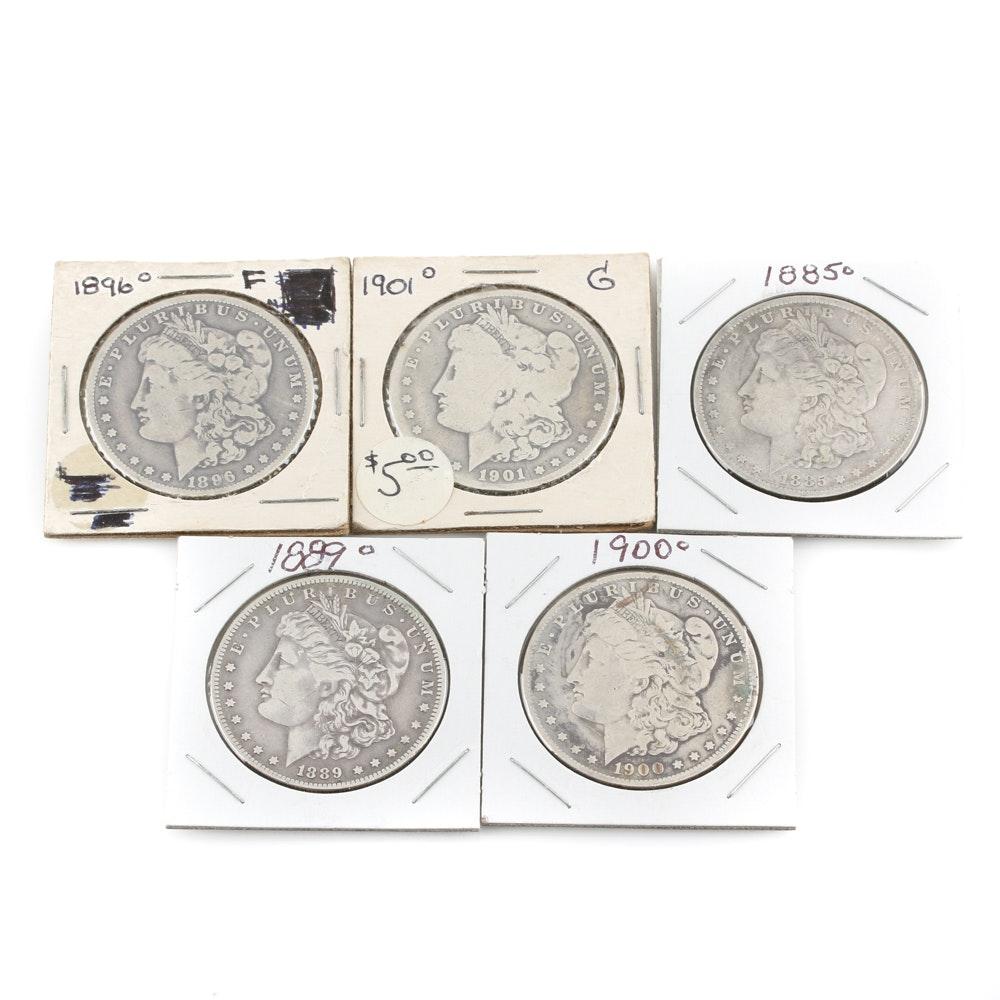 Selection of Five Morgan Silver Dollars