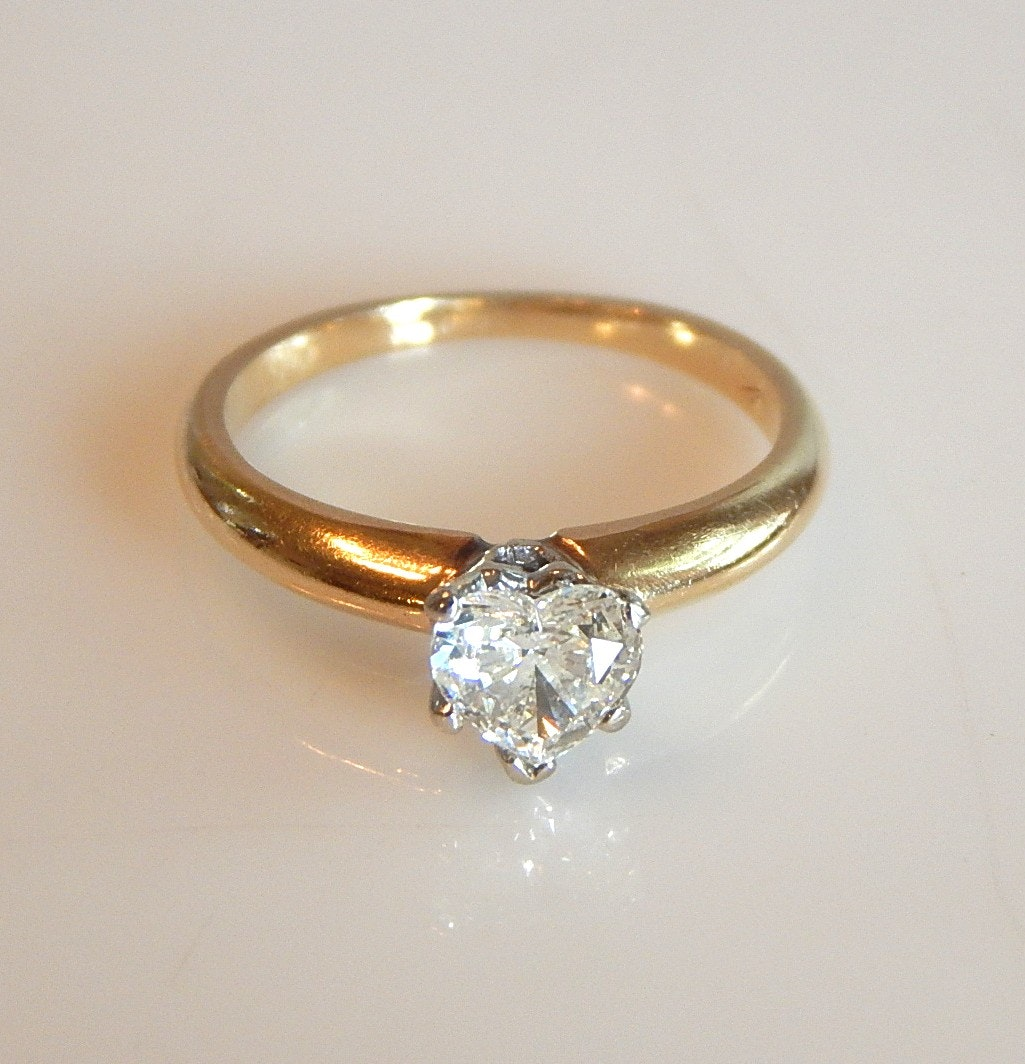 14K Yellow Gold Heart Shaped Diamond Solitaire Ring