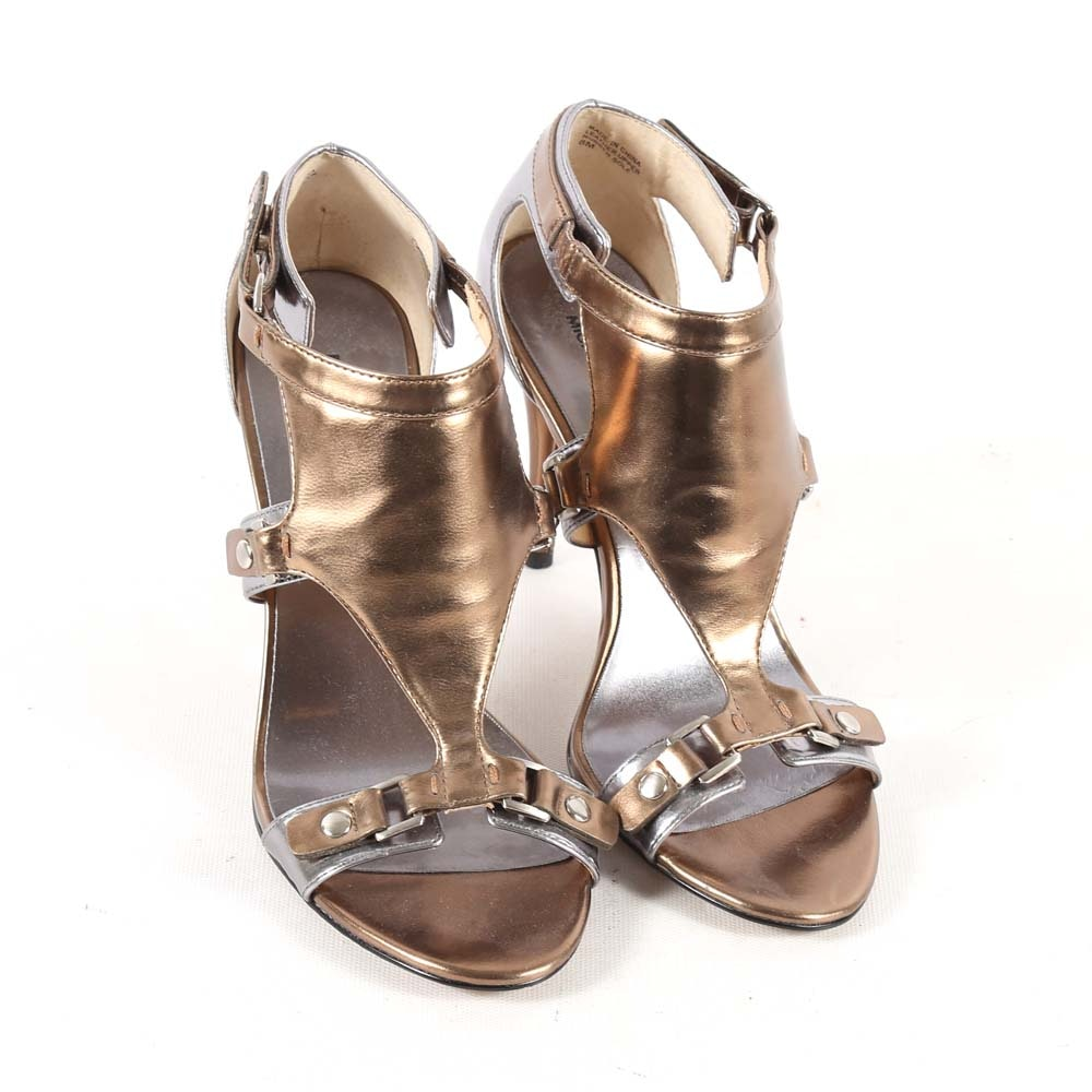 MICHAEL by Michael Kors Leather Open-Toe Heels