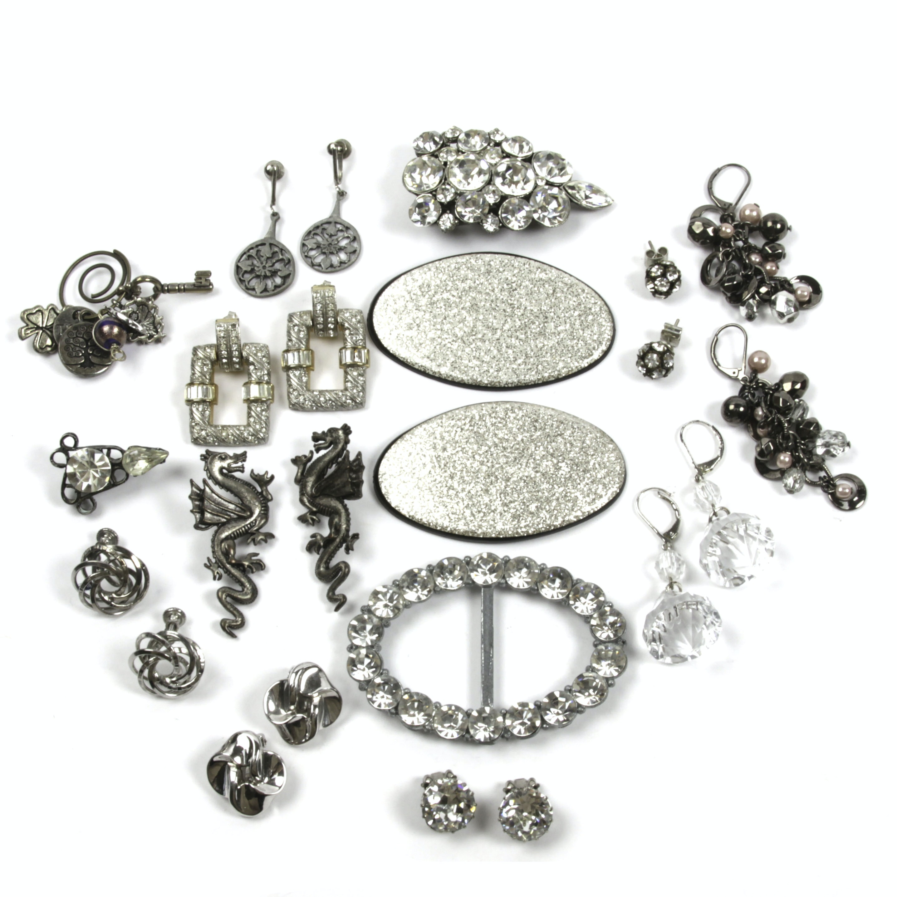 Eclectic Rhinestone and Silver Tone Costume Jewelry