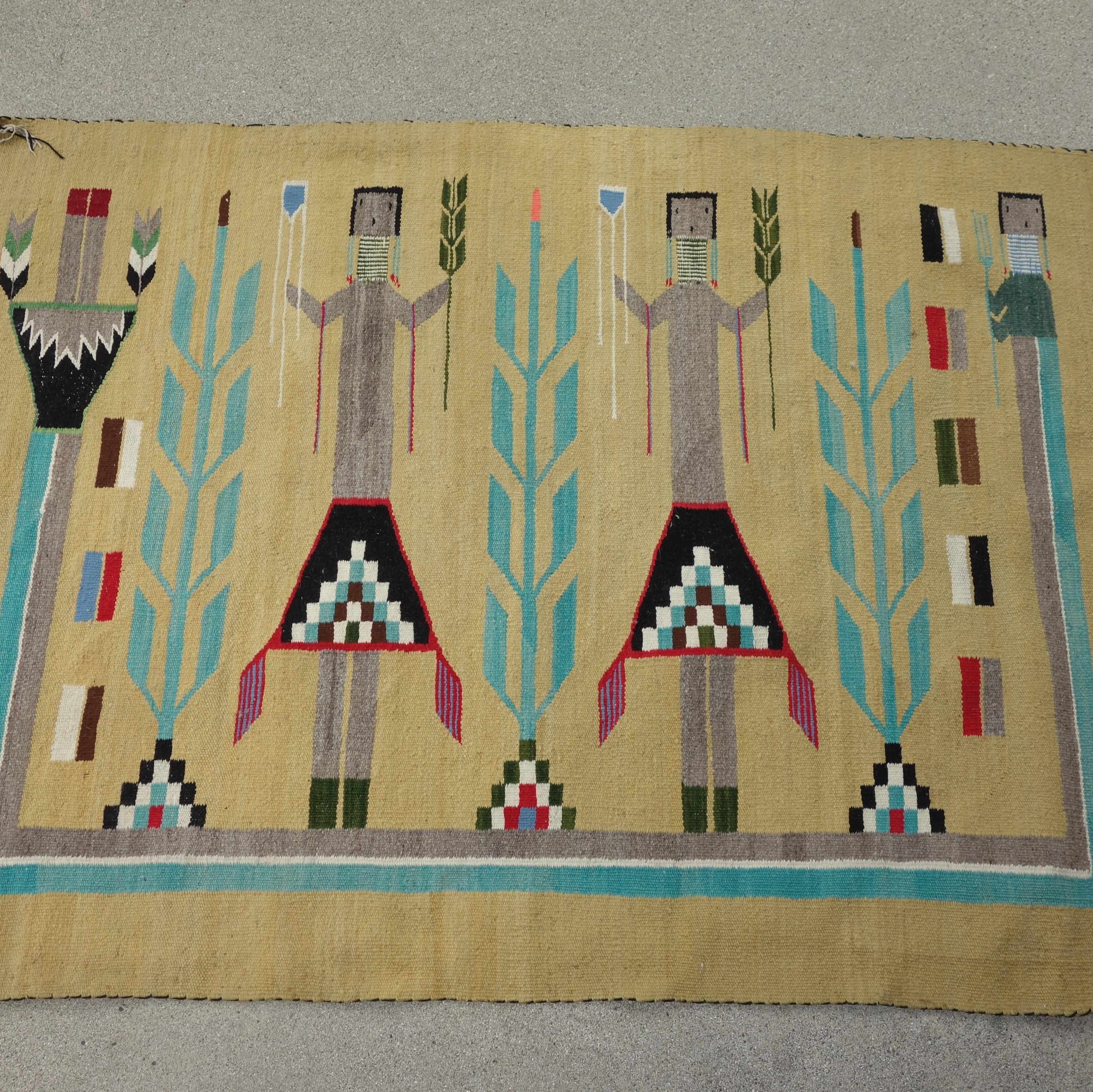 Handwoven Navajo Yei Rug, circa 1950