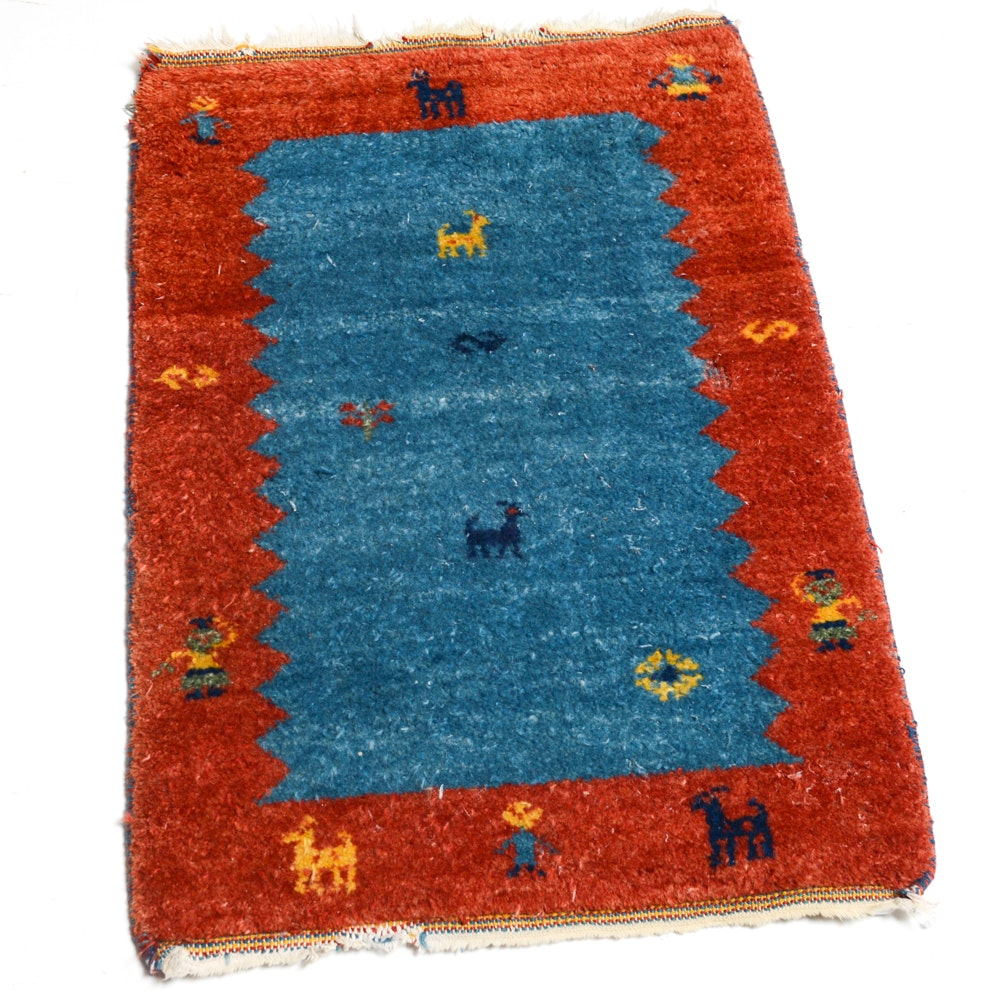 Hand-Knotted Persian Gabbeh Pictorial Accent Rug