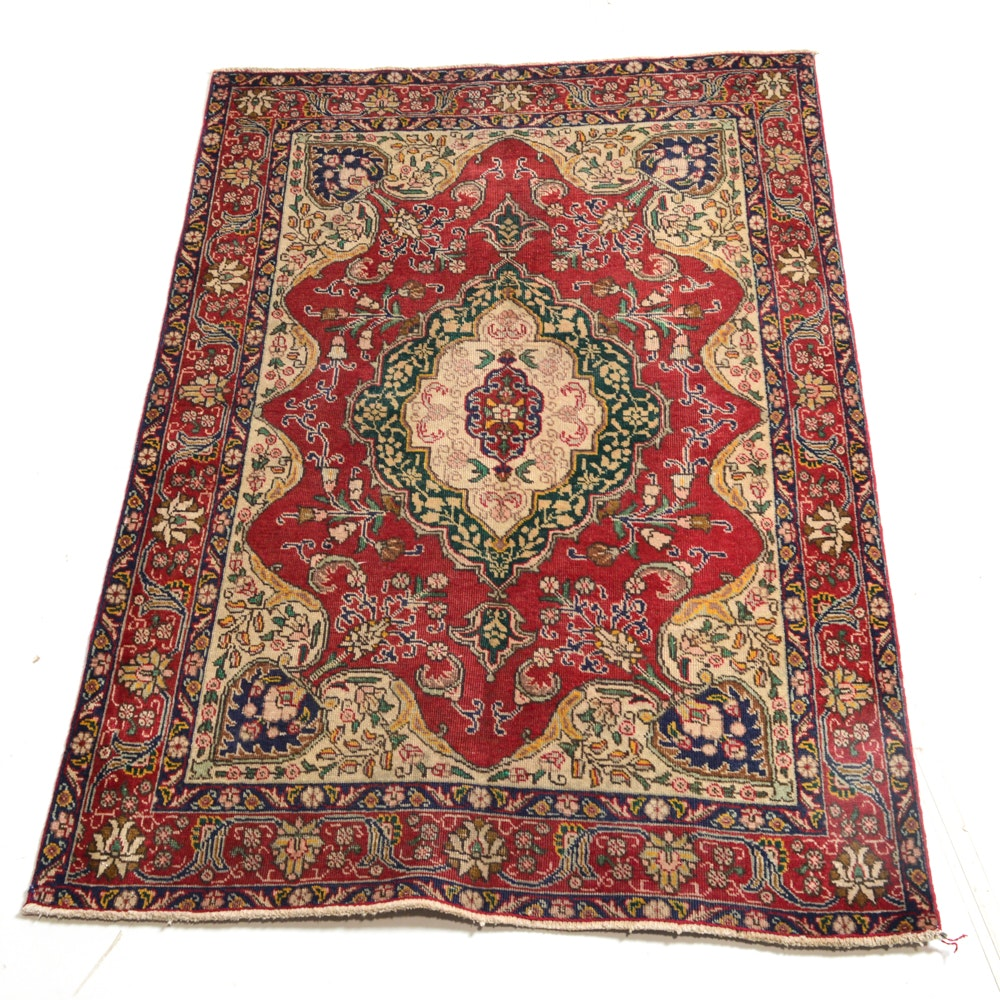 Vintage Hand-Knotted Persian Tabriz Area Rug
