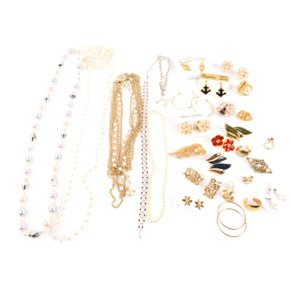 Gold Tone and Imitation Pearl Jewelry Collection