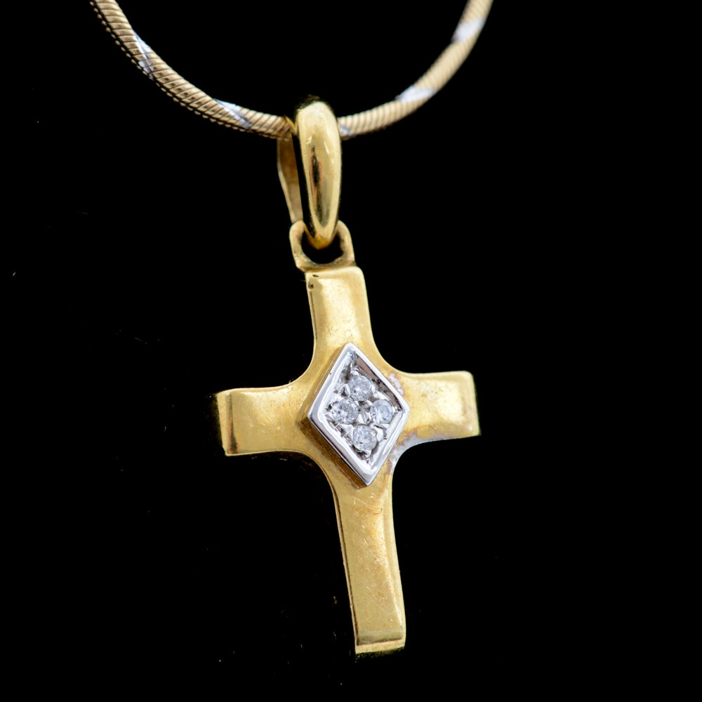 18K Yellow Gold Diamond Cross Pendant Necklace