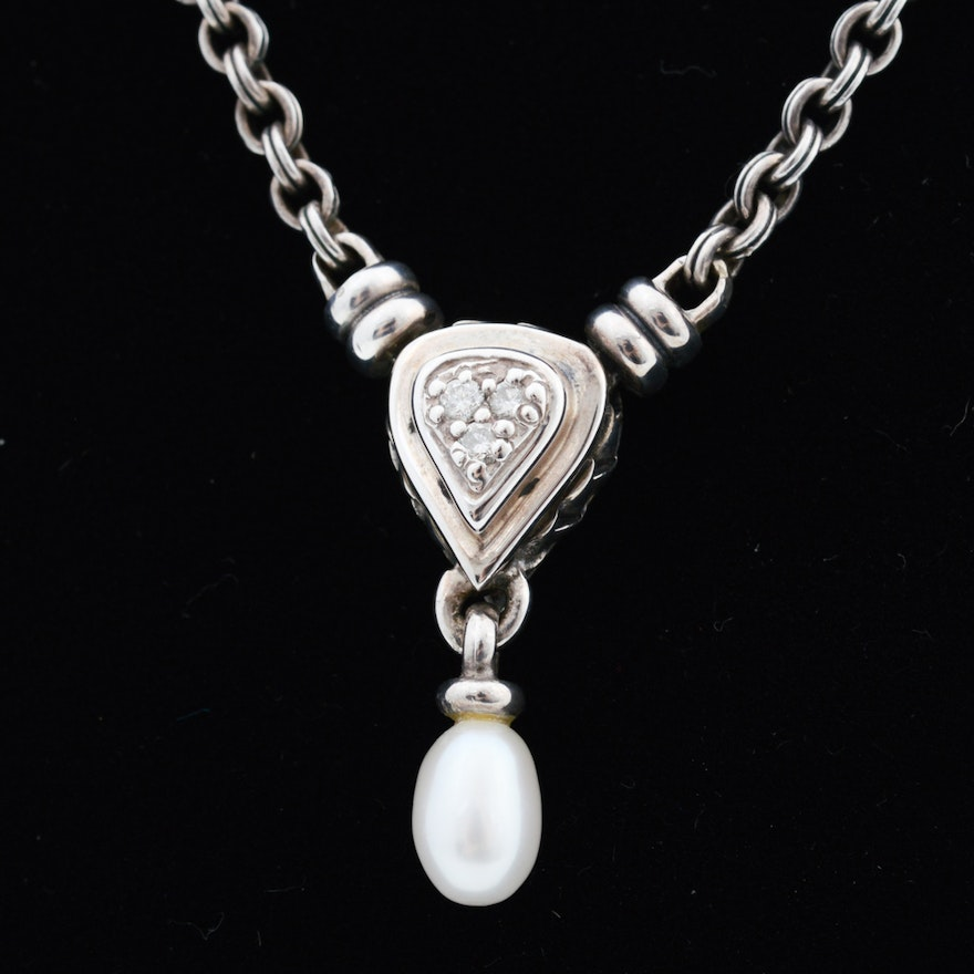 22dc02129 Scott Kay Sterling Silver Diamond and Pearl Necklace : EBTH