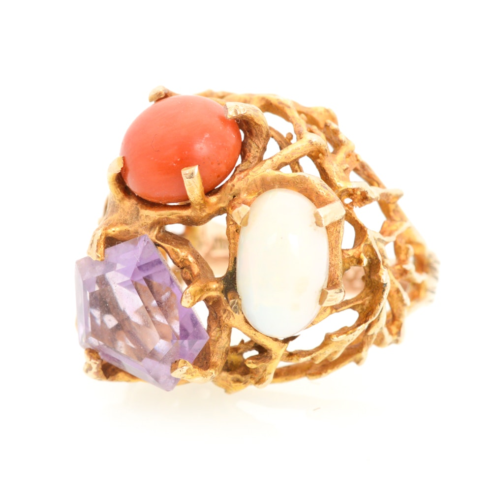 14K Yellow Gold Opal, Amethyst, and Coral ring