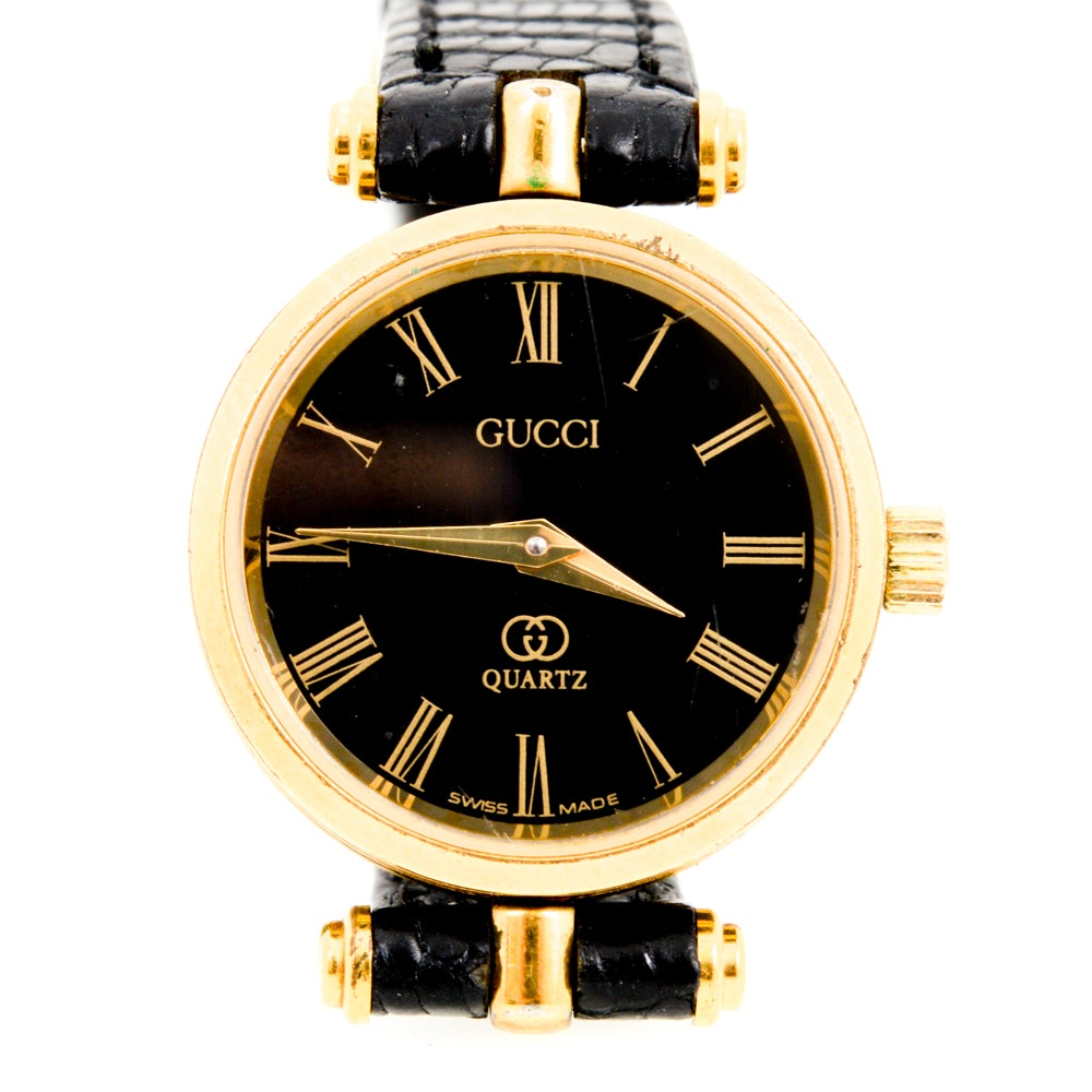 Vintage Gucci Wristwatch with Embossed Black Leather Band