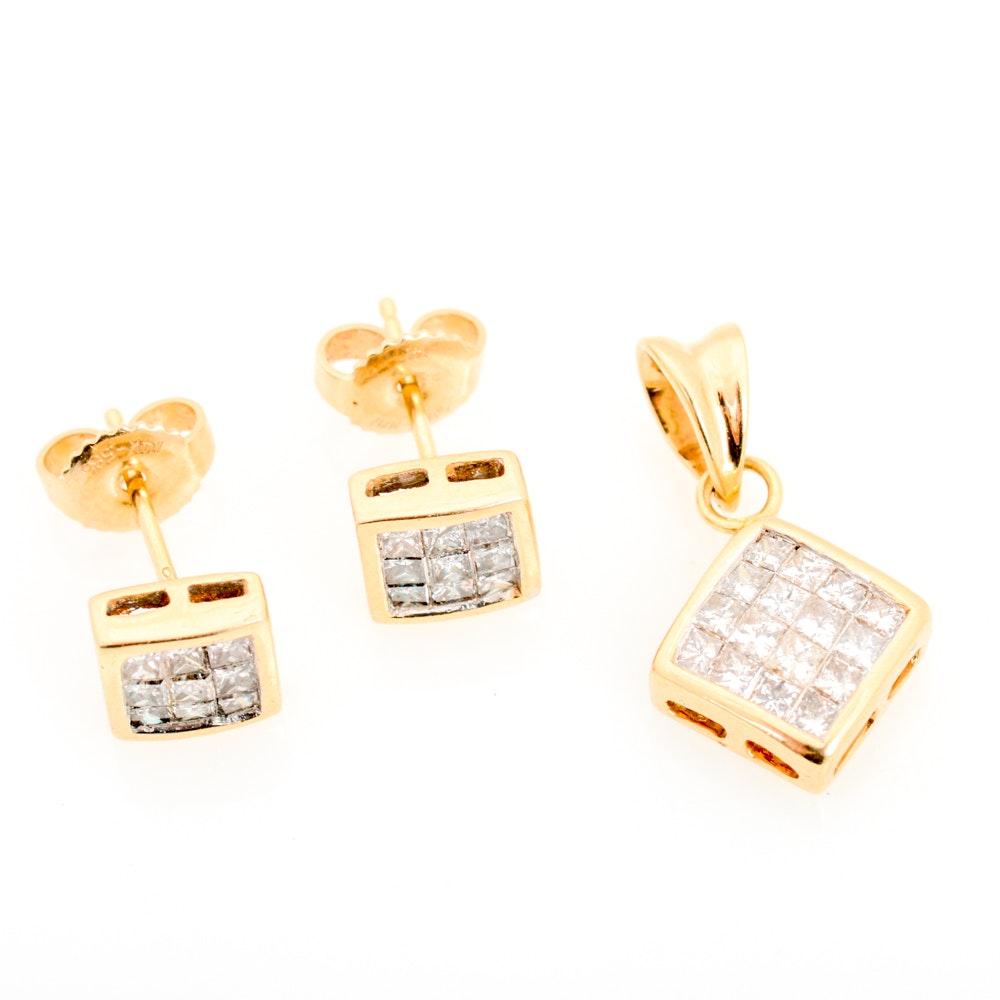 14K Yellow Gold Diamond Earrings and Pendant