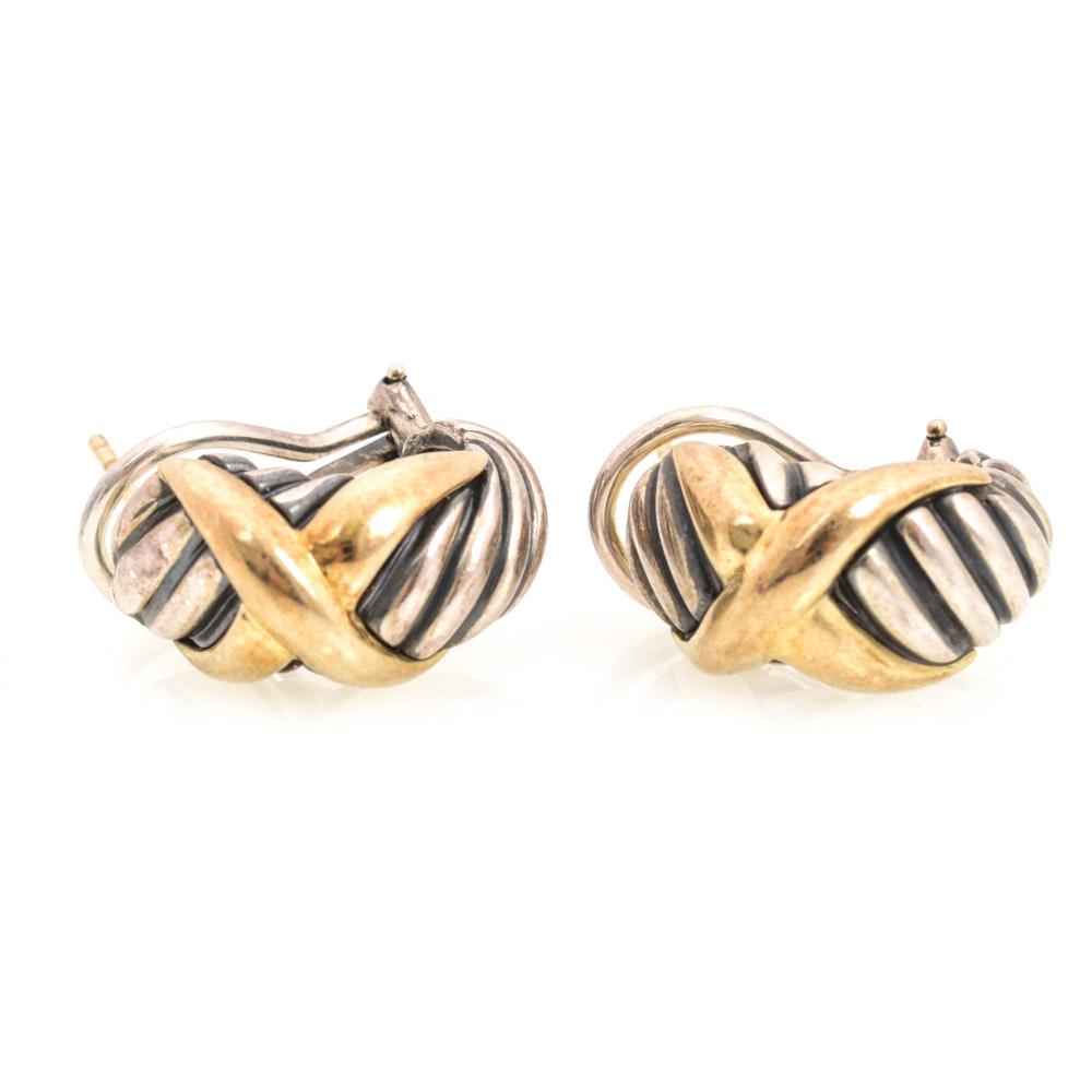David Yurman 14K Yellow Gold and Sterling Silver Earrings