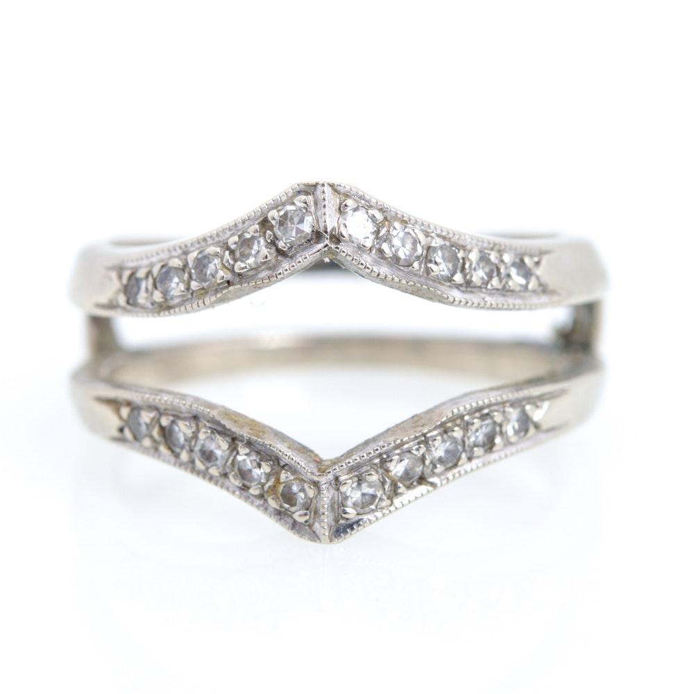 14K White Gold Diamond Wedding Ring Jacket