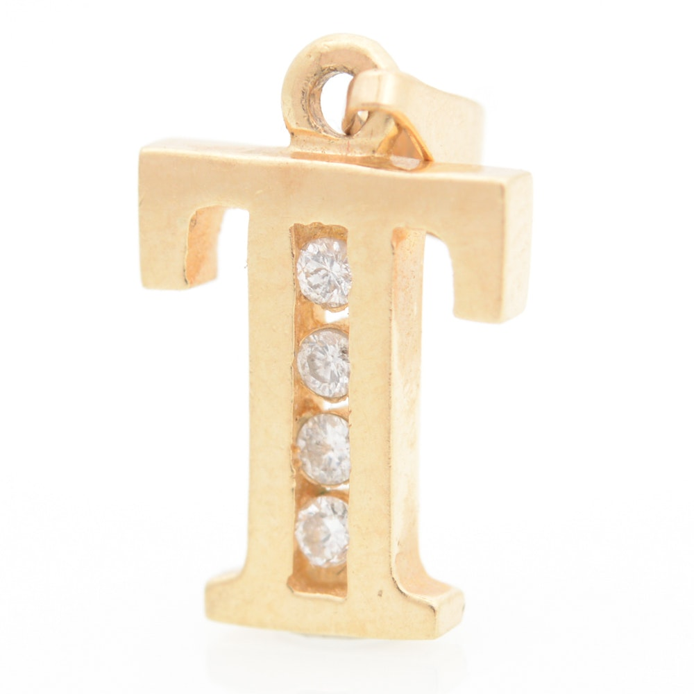 14K Yellow Gold and Diamond Charm Pendant
