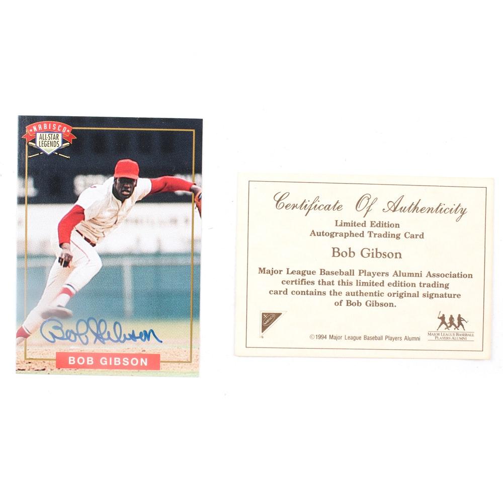 Bob Gibson Autographed Baseball Card