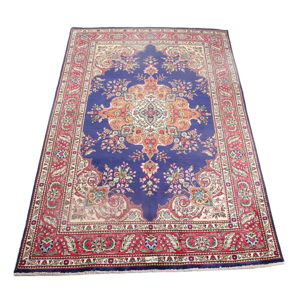 Signed Nassiri Vintage Hand-Knotted Persian Tabatabe Tabriz Room Size Rug