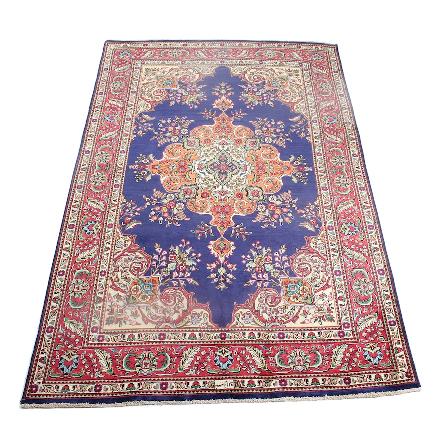 Hand Knotted Persian Tabriz Wool Area Rug Ebth: Signed Nassiri Vintage Hand-Knotted Persian Tabatabe