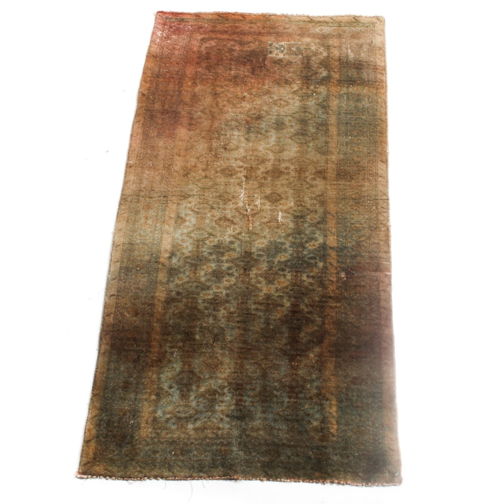 Hand-Knotted Distressed Pakistani Bokhara Area Rug