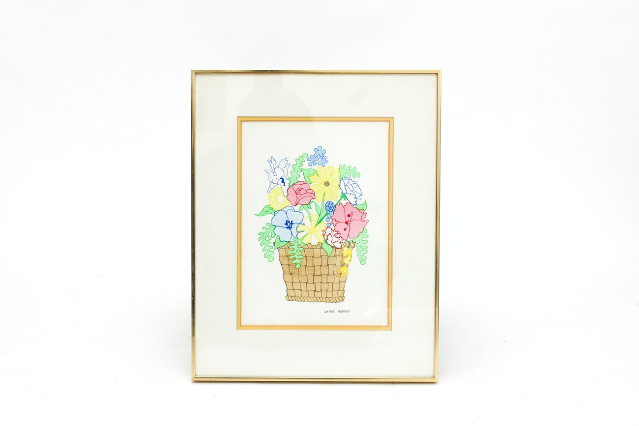 Framed Painting of Flowers in Basket by Cathie Momper