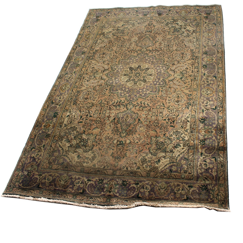 Antique Hand-Knotted Persian Hajalilli Tabriz Room Size Rug