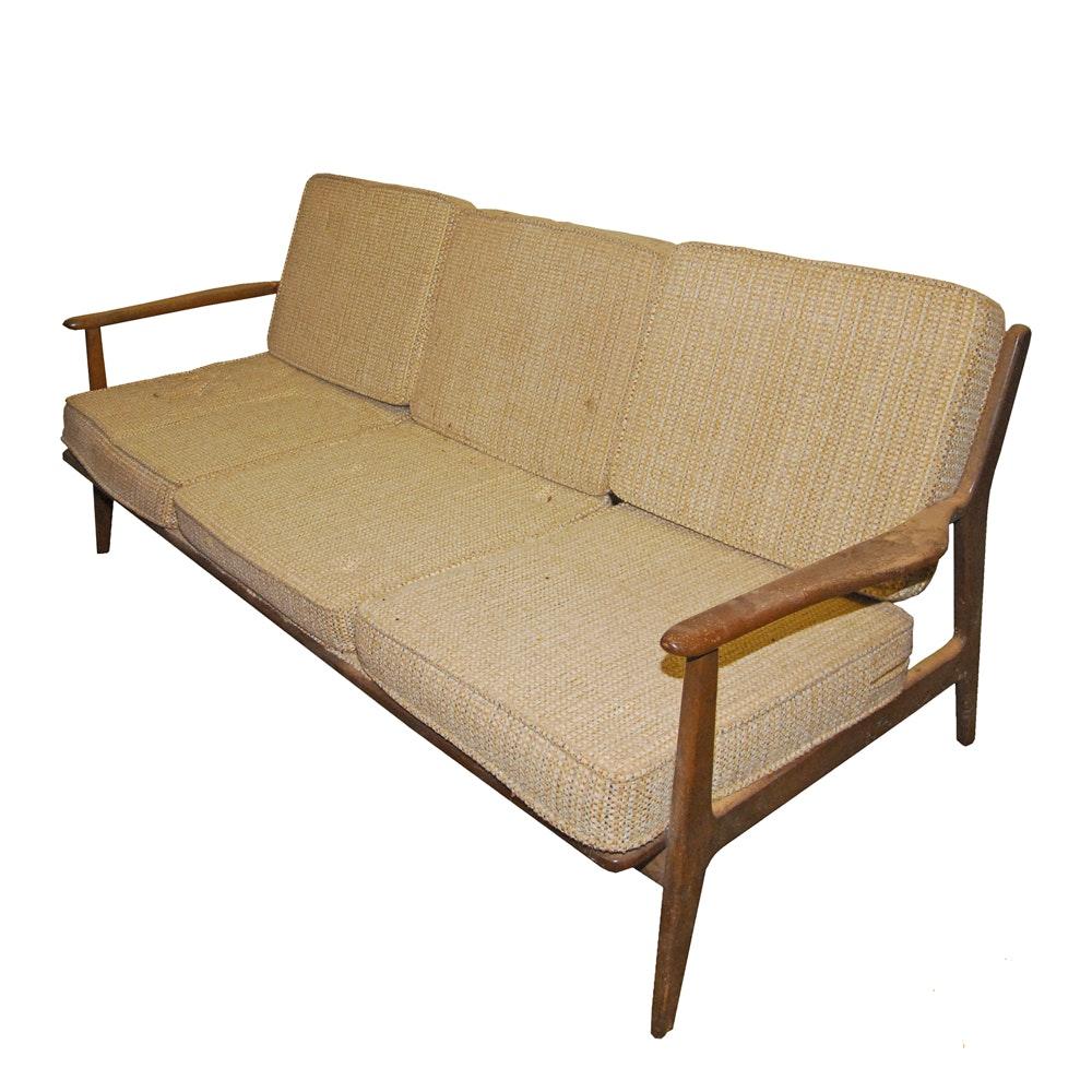 Mid Century Modern Hardwood Frame Sofa