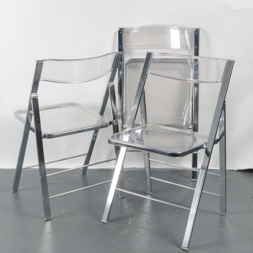 Modernist Lucite and Chrome Folding Chairs by Alston Quality Industries