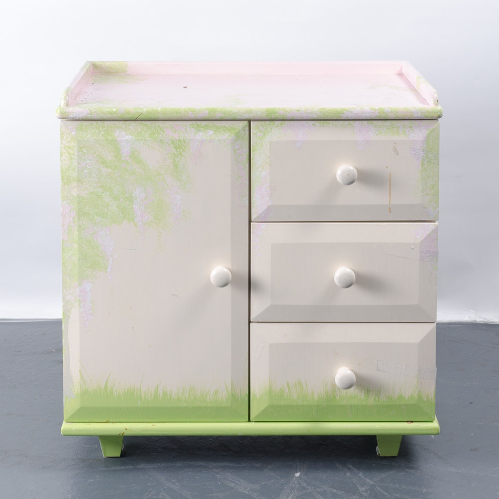 Decorative Painted Cabinet With Drawers