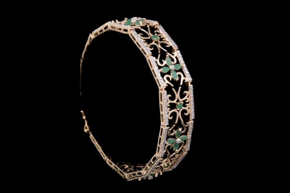 Gold Plated Sterling Silver, Emerald and Diamond Filigree Bracelet