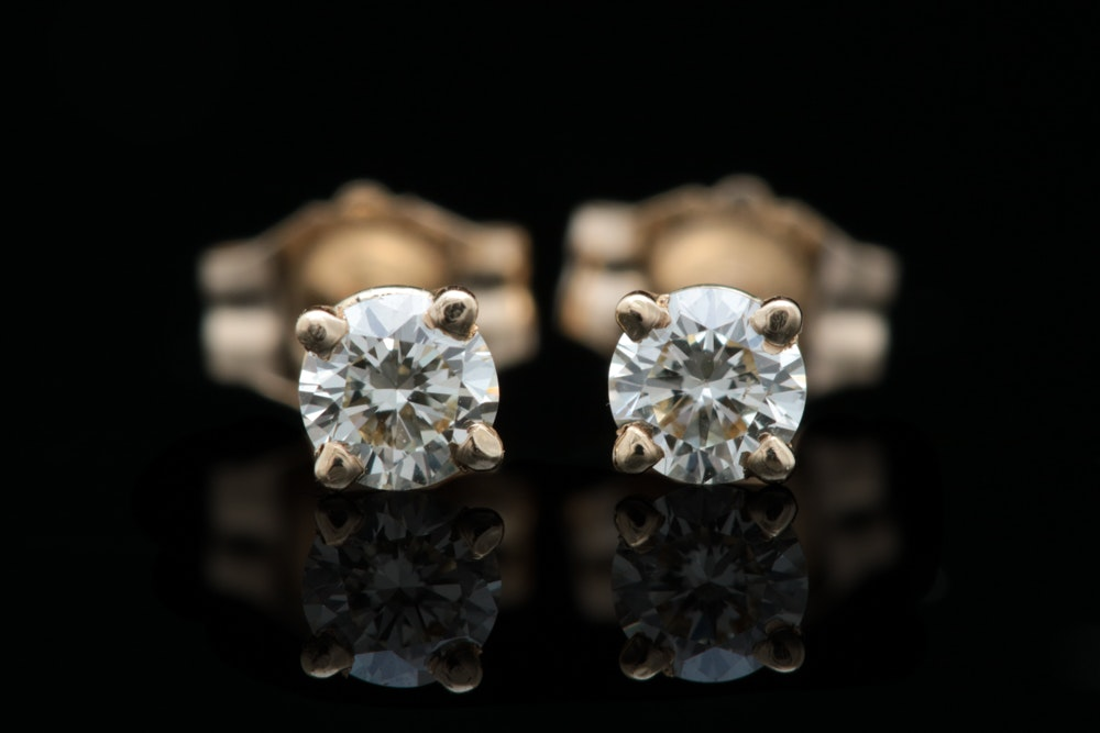 14K Yellow Gold and Diamond Stud Earrings