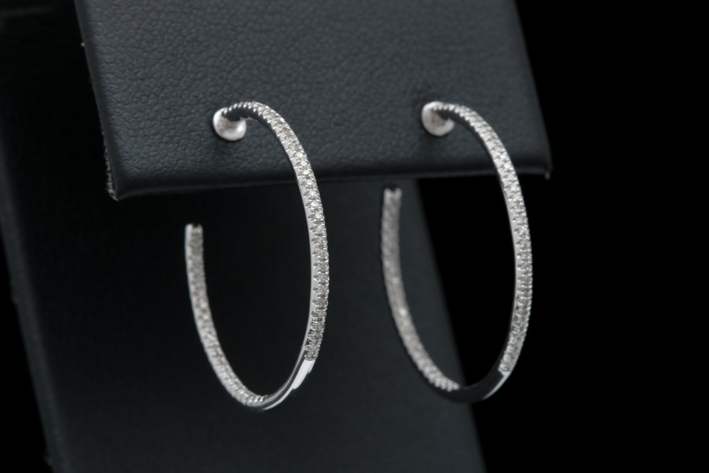 14K White Gold and Diamond In and Out Hoop Earrings