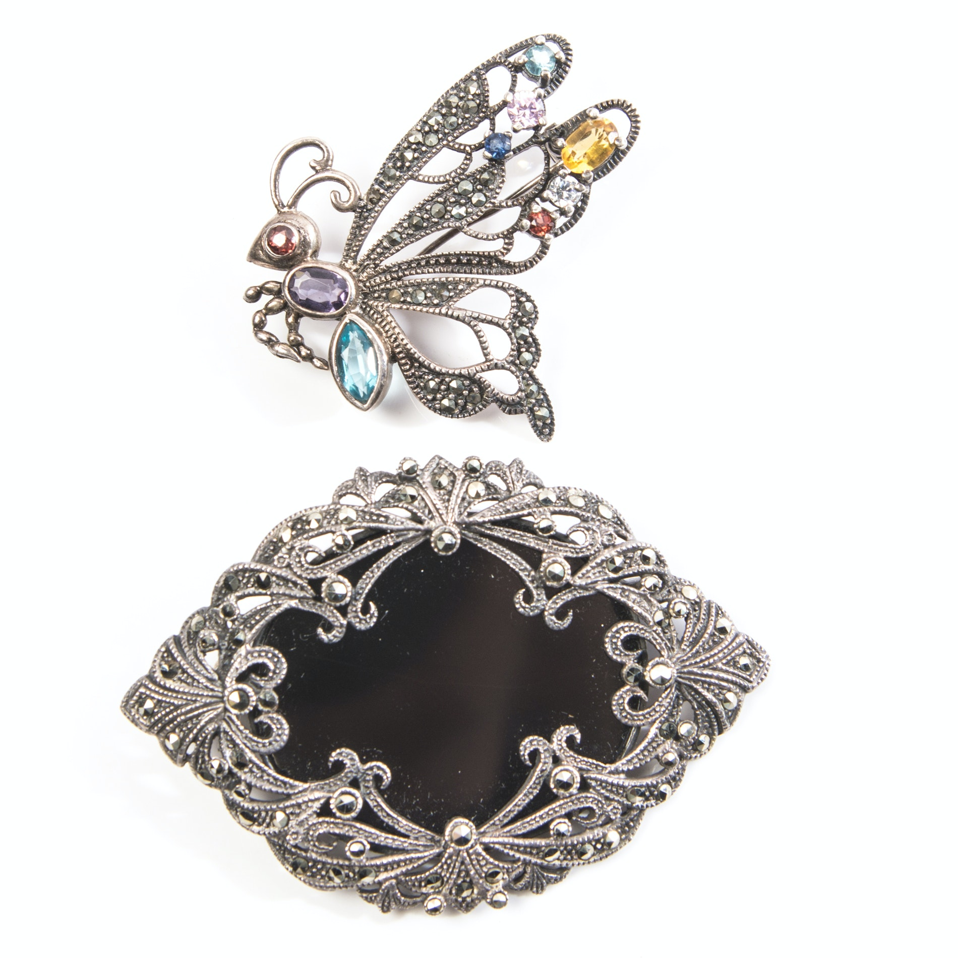 Sterling Silver Marcasite Brooches