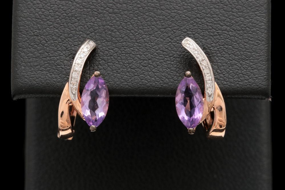 14K Rose Gold, Amethyst and Diamond Earrings