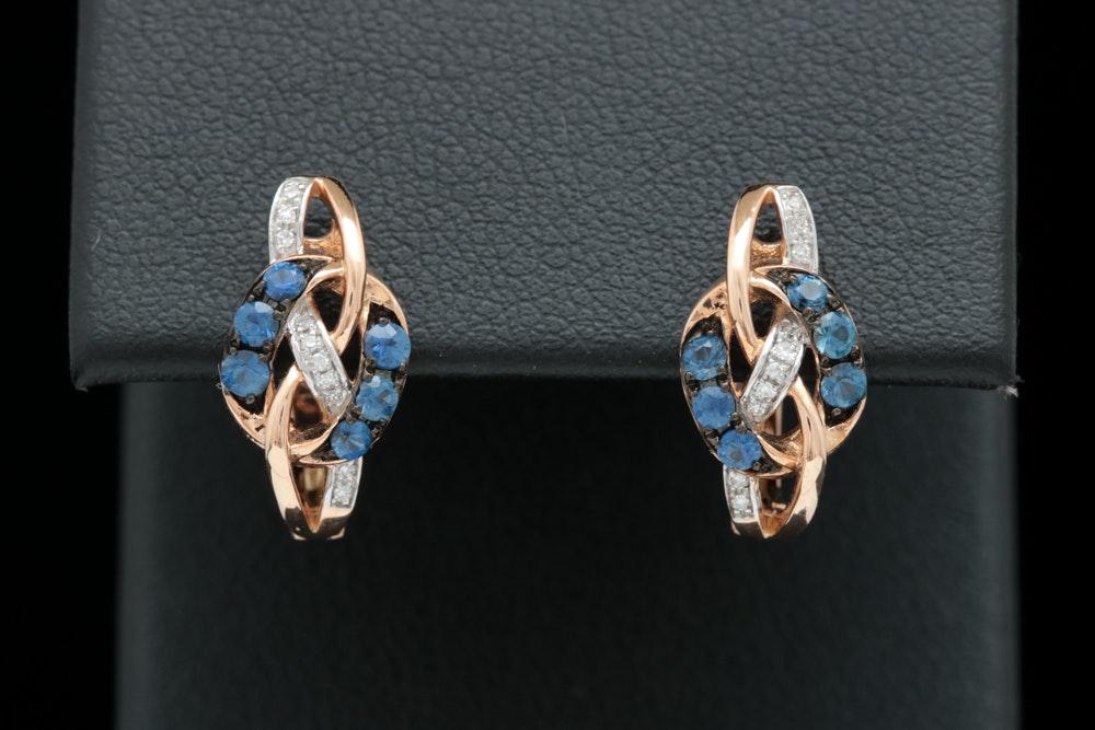 14K Rose Gold, Blue Sapphire and Diamond Earrings