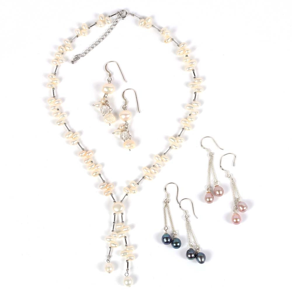 Sterling Silver Freshwater Pearl Necklace and Earrings