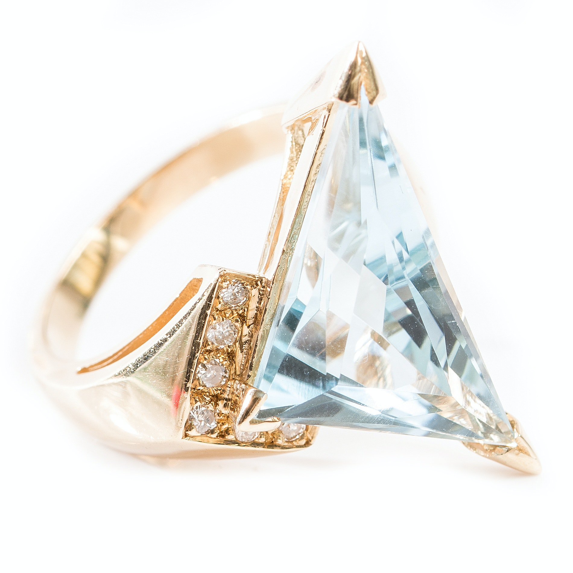 Bold 14K Yellow Gold 9.85 CT Blue Topaz and Diamond Ring