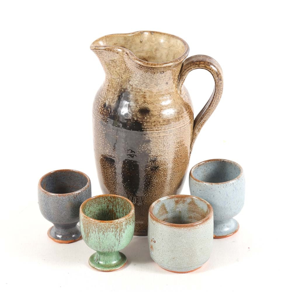 Hand Thrown Stoneware Pitcher and Egg Cups