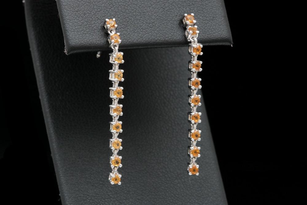 14K White Gold and Citrine Dangle Earrings