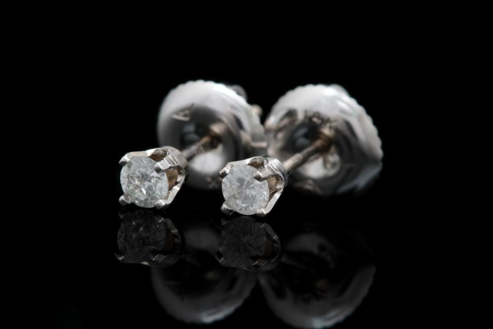 14K White Gold and Diamond Stud Earrings