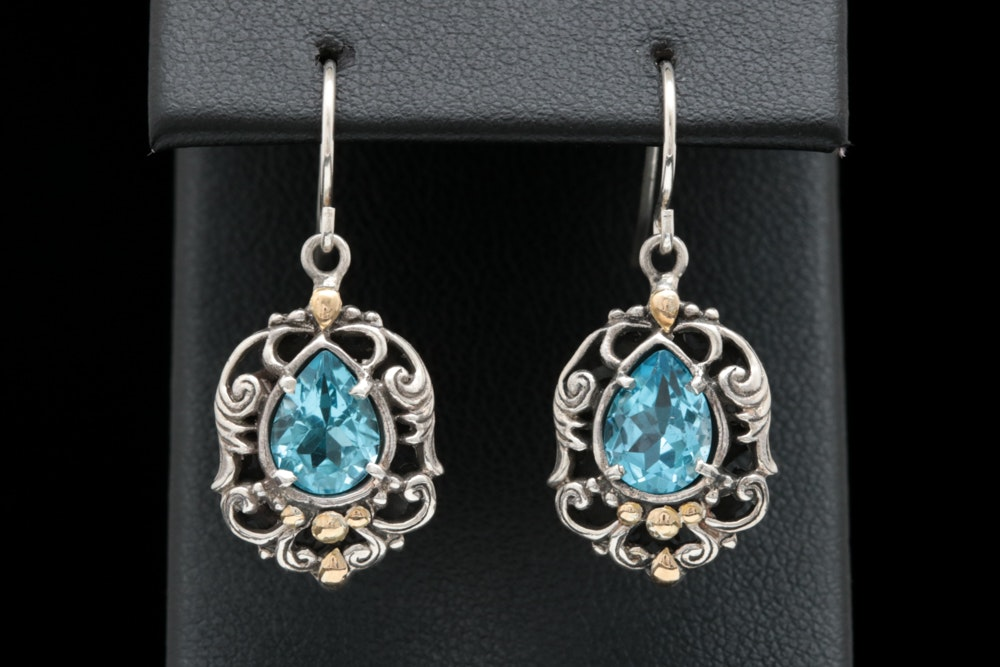 Sterling SIlver, 18K Yellow Gold and Swiss Blue Topaz Dangle Earrings
